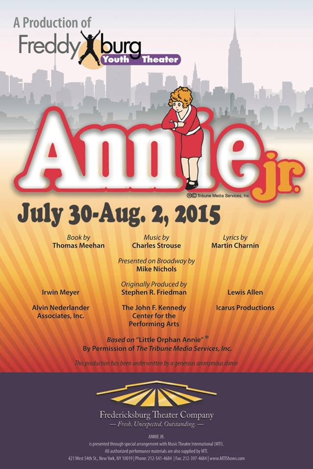 Annie, Jr., musical by Fredericksburg Theater Company