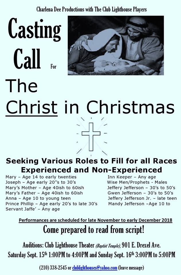Auditions for The Christ in Christmas, by Club Lighthouse Players