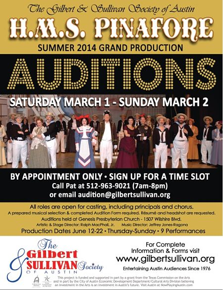Audition for H.M.S. Pinafore, by The Gilbert & Sullivan Society of Austin
