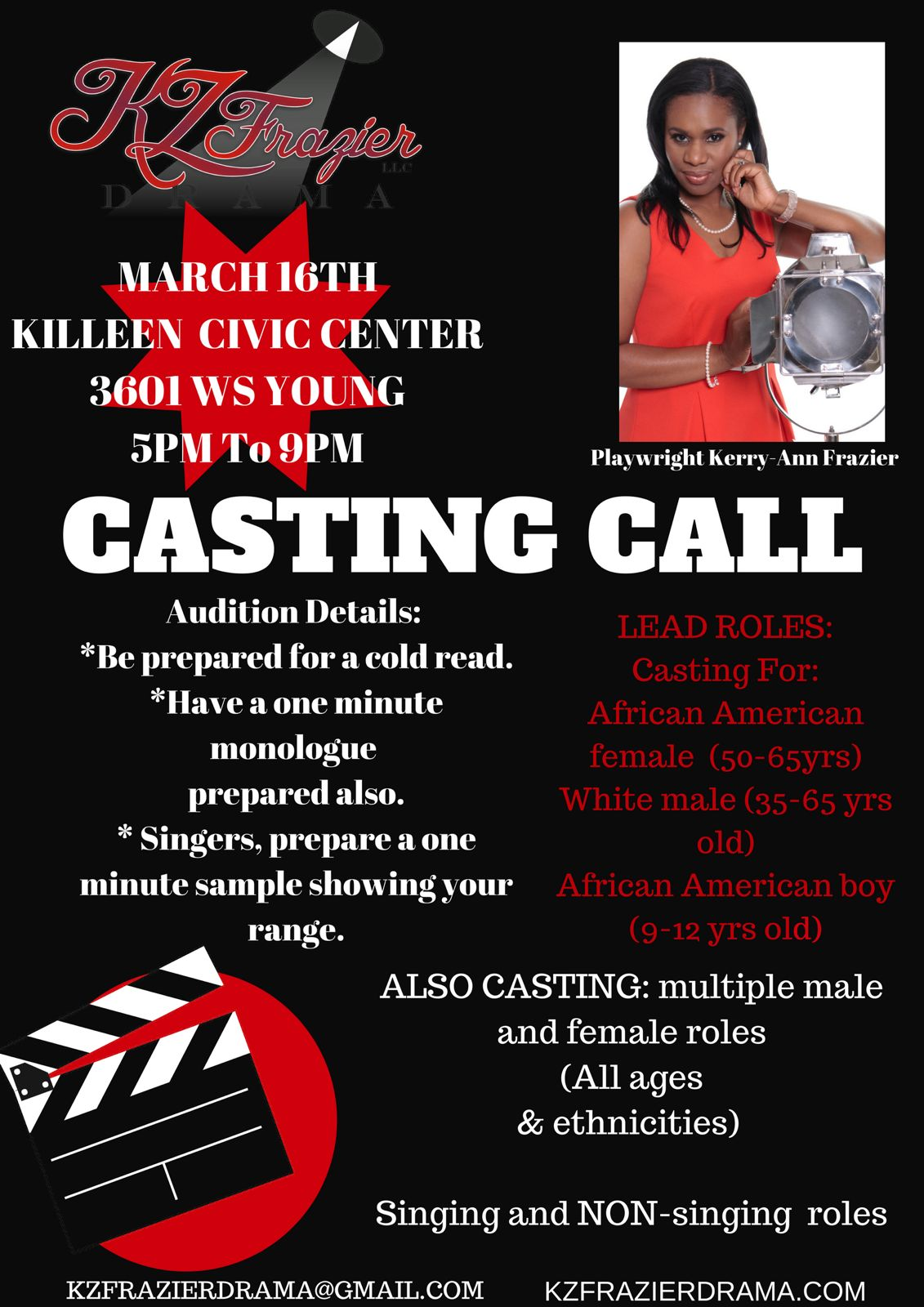 Auditions in Killeen for Untitled Pieces by K.Z. Frazier, by KZFrazier Drama Company