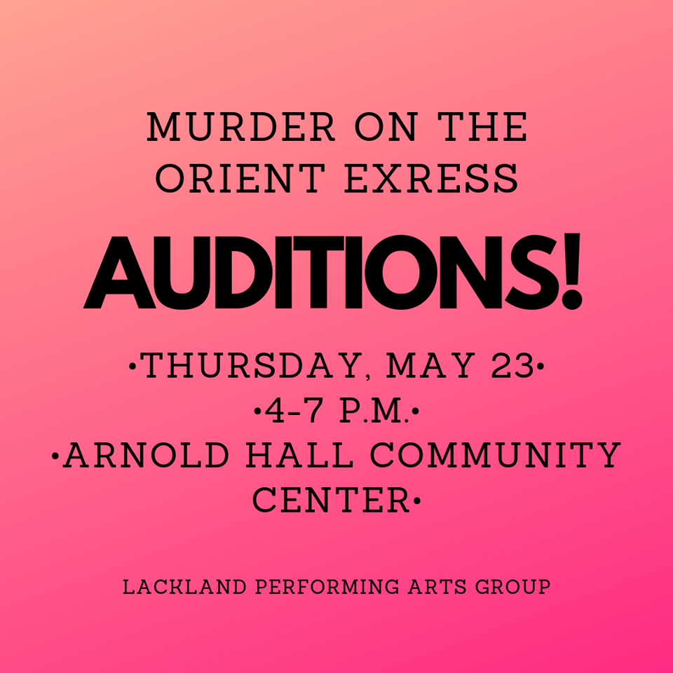 Auditions for Murder on the Orient Express, by Lackland Performing Arts Group
