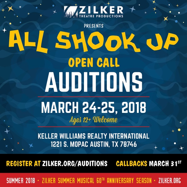 Auditions for All Shook Up, the Elvis Presley musical, by Zilker Theatre Productions