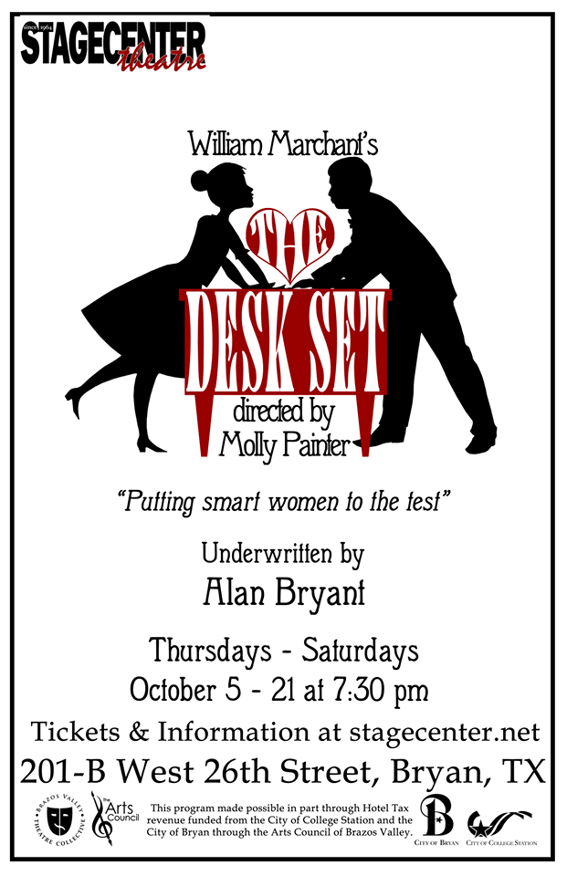 Auditions for THE DESK SET by William Marchant, StageCenter Community Theatre, Bryan, August 14 & 15, 2017