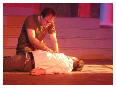 Trey Palmer as Antony, weeping over the corpse (ALT photo)