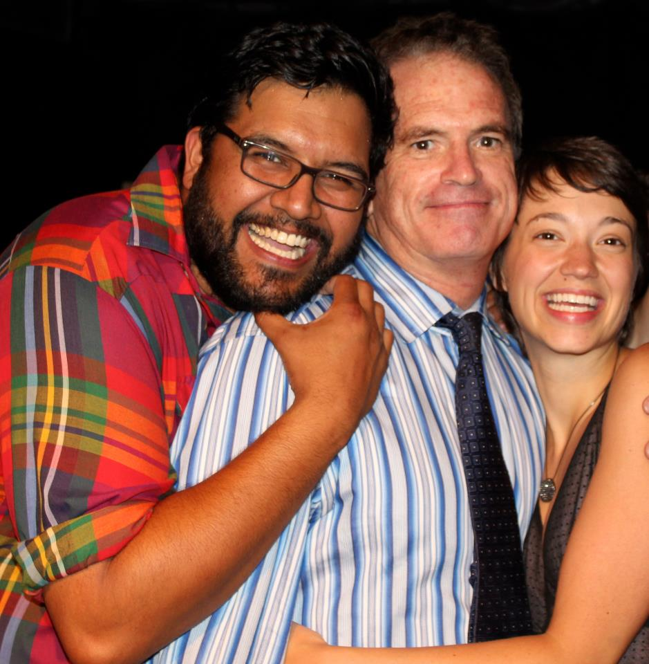 Producers Derek Kolluri and Jenny Lavery with playwright Dennis Bailey (image: Theatre en Bloc via Facebook)