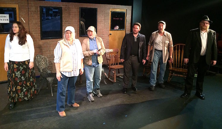 Jacquelyn Lies,  Kathy Rose Center, Laurie Coker, Corinna Browning (in the window), Nathan Daniel,  Patrick Lescarbeau, Beau Paul (photo: Last Act Theatre Company)